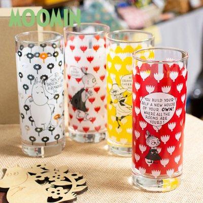 MOOMIN(ムーミン) コミックパターン ロングタンブラー 300cc 北欧おしゃれ&かわいいガラス製コップ