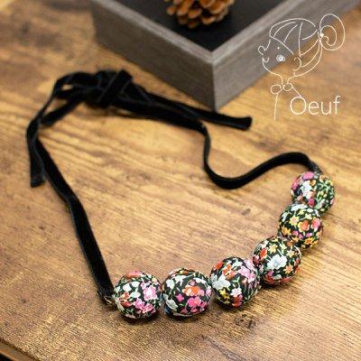 Oeuf(ウフ) リバティの生地を使った可愛いネックレス ベロアリボンで長さ調節できるネックレス
