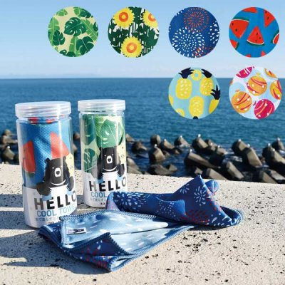 HELLO BEAR クールタオル リバーシブル/カラフル/熱中症対策/冷却タオル