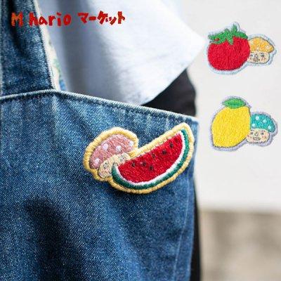 M hario マーケット(エムハリオマーケット) 刺繍ブローチ 可愛いきのこが刺繍されたブローチ