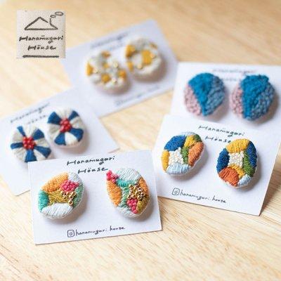 Hanamuguri&Hanamuguri house 刺繍ピアス 細かく刺繍されたお洒落で個性的なピアス