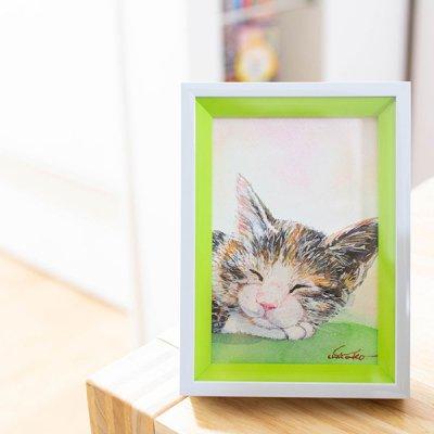 cHiYako(チヤコ) お洒落なインテリアになる可愛い猫の卓上水彩画 ミニ絵画