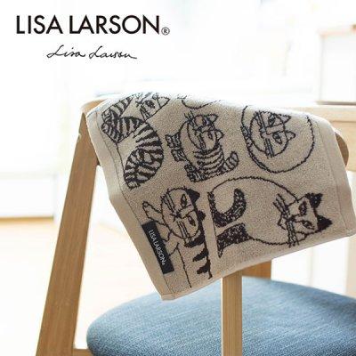 LISA LARSON(リサラーソン) スケッチキャットミニタオル デザインされた落ち着いたカラーのタオル