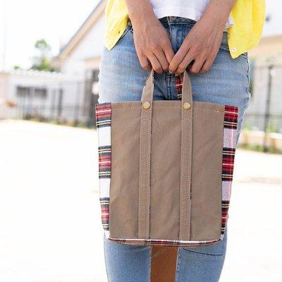 romiphoo 手持ち縦長バッグ  帆布素材の丈夫なバッグ