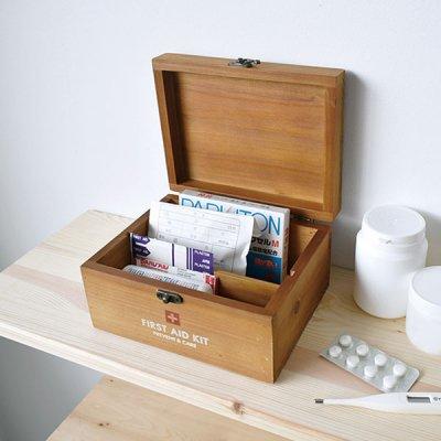 PREVENT ファーストエイドボックス ミニ お洒落なインテリアにもなる木製の救急箱 救急箱 収納 木製 収納ボックス