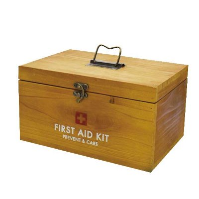PREVENT ファーストエイドボックス お洒落なインテリアにもなる木製の救急箱 救急箱 収納 木製 収納ボックス