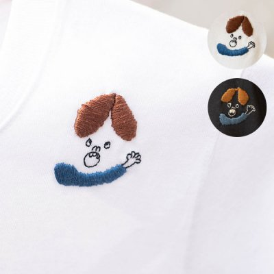 uRiiiy ワンポイント刺繍Tシャツ ワンポイント刺繍が入った可愛い半袖カットソー
