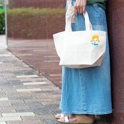 uRiiiy ワンポイント刺繍マチ付きランチバッグ キャンバス生地の丈夫な手持ちバッグ