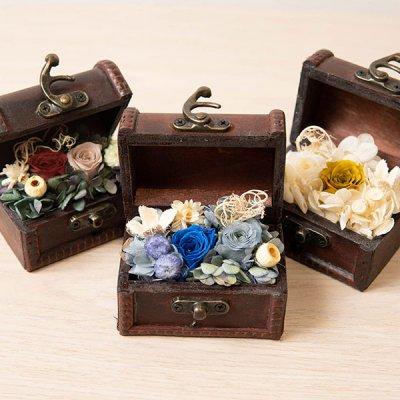 champs de fleurs プリザーブドフラワートレジャーボックス 手のひらサイズのお洒落なボックス