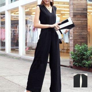 韓国 ファッション オールインワン サロペット 夏 春 パーティー ブライダル PTX1552  ノースリーブ バックスリット ハイウエスト ワイドパンツ 二次会 セレブ きれいめ