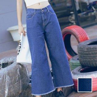 韓国 ファッション パンツ ボトムス 夏 春 秋 カジュアル PTX2627  ワイド ガウチョ バギー デニム 無地 系 オルチャン シンプル 定番 セレカジ