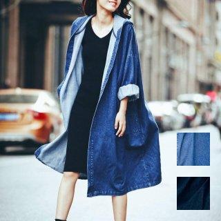 韓国 ファッション アウター コート 夏 春 秋 カジュアル PTX2928  デニム ダウンショルダー フード付き ロング丈 ジャケット オルチャン シンプル 定番 セレカジ