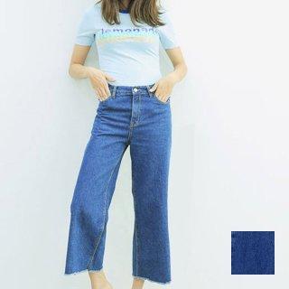 韓国 ファッション パンツ デニム ジーパン ボトムス 秋 冬 カジュアル PTX3868  カットオフ バギー ガウチョ パンツ Gパン オルチャン シンプル 定番 セレカジ