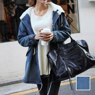 韓国 ファッション アウター コート 秋 冬 カジュアル PTX3875  デニム オーバーサイズ フード付き Gジャン オルチャン シンプル 定番 セレカジ
