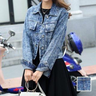 韓国 ファッション アウター ブルゾン 夏 春 秋 カジュアル PTX4623  ショート 長袖 襟付き Gジャン ユニセックス 無地 ジャケット オルチャン シンプル 定番 セレカジ