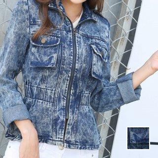 韓国 ファッション アウター ブルゾン 夏 春 秋 カジュアル PTX4624  ショート 長袖 襟付き Gジャン 無地 ジャケット オルチャン シンプル 定番 セレカジ