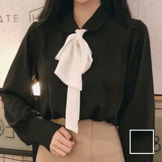 韓国 ファッション トップス ブラウス シャツ 春 夏 秋 カジュアル PTX8361  リボン ボウタイ ロングカフス オフィス ドレス オルチャン シンプル 定番 セレカジ