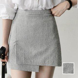 韓国 ファッション スカート ミニ ボトムス 春 夏 カジュアル PTX9472  チェック イレギュラーヘム ガーリー フェミニン オルチャン シンプル 定番 セレカジ
