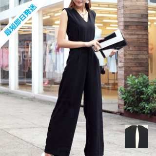 【即納】韓国 ファッション オールインワン サロペット 夏 春 パーティー ブライダル SPTX1552  ノースリーブ バックスリット ハイウエスト ワイドパンツ 二次会 セレブ きれいめ