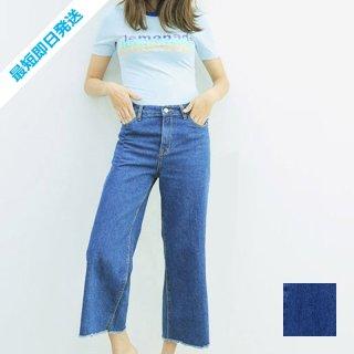 【即納】韓国 ファッション パンツ デニム ジーパン ボトムス 秋 冬 カジュアル SPTX3868  カットオフ バギー ガウチョ パンツ Gパン オルチャン シンプル 定番 セレカジ