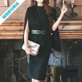【即納】韓国 ファッション ワンピース パーティードレス ひざ丈 ミディアム 春 秋 冬 パーティー ブライダル SPTX5574 結婚式 お呼ばれ セット ポンチョ マント 二次会 セレブ きれいめ