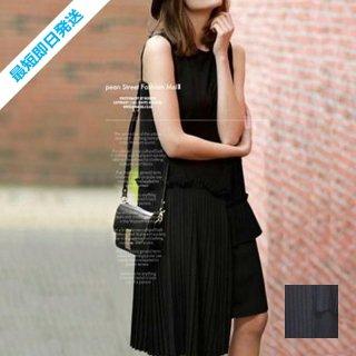 【即納】韓国 ファッション ワンピース 春 夏 カジュアル SPTX3456  アシンメトリー プリーツ ノースリーブ Uネック ボックス オルチャン シンプル 定番 セレカジ