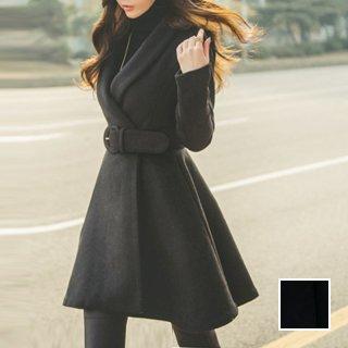 韓国 ファッション アウター コート 秋 冬 パーティー ブライダル PTXC881  へちまカラー ウエストマーク Aライン ミディアム チェスター 二次会 セレブ きれいめ