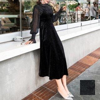 韓国 ファッション パーティードレス 結婚式 お呼ばれドレス セットアップ 秋 冬 パーティー ブライダル PTXD370  グリッター プルオーバー ロング キャミソールワ 二次会 セレブ きれいめ