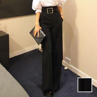 韓国 ファッション パンツ ボトムス 夏 春 パーティー ブライダル PTXA394  太ベルト ウエストマーク センタープレス ワイド オフィス 二次会 セレブ きれいめ