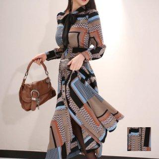 韓国 ファッション ワンピース パーティードレス ロング マキシ 春 秋 冬 パーティー ブライダル PTXE132 結婚式 お呼ばれ レトロ 幾何学模様 ブロック柄 Aライ 二次会 セレブ きれいめ