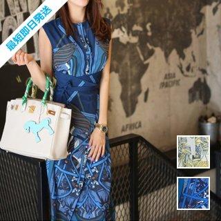 【即納】韓国 ファッション ワンピース パーティードレス ひざ丈 ミディアム 春 夏 パーティー ブライダル SPTXB517 結婚式 お呼ばれ ゴージャス レトロ スカーフ 二次会 セレブ きれいめ