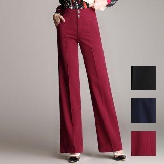 韓国 ファッション パンツ ボトムス 春 夏 カジュアル PTXE503  センタープレス ワイド ストレート オフィス パーティー エレガント フォーマル オルチャン シンプル 定番 セレカジ