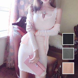 韓国 ファッション セットアップ 春 夏 カジュアル PTXE990  リブニットカットソー カーディガン マイクロミニワンピース リゾートドレス オルチャン シンプル 定番 セレカジ