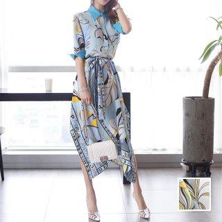 韓国 ファッション ワンピース パーティードレス ひざ丈 ミディアム 春 夏 パーティー ブライダル PTXF023 結婚式 お呼ばれ リゾートワンピース ハワイ スカーフ柄 二次会 セレブ きれいめ