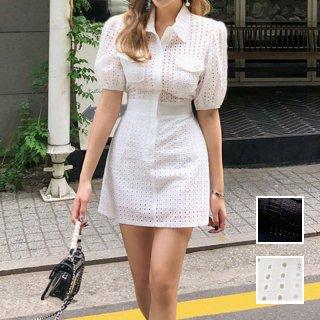 韓国 ファッション ワンピース パーティードレス ショート ミニ丈 春 夏 パーティー ブライダル PTXG119 結婚式 お呼ばれ パンチングレース 襟付き 背中見せ バッ 二次会 セレブ きれいめ