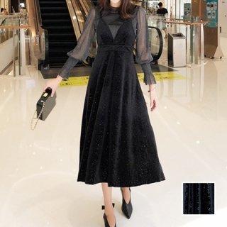 韓国 ファッション パーティードレス 結婚式 お呼ばれドレス セットアップ 春 秋 冬 パーティー ブライダル PTXG143  シースルー ロングカフス キャミワンピース 二次会 セレブ きれいめ