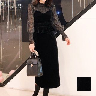 韓国 ファッション パーティードレス 結婚式 お呼ばれドレス セットアップ 春 秋 冬 パーティー ブライダル PTXG154  シースルー ペプラム タイト キャミワンピー 二次会 セレブ きれいめ