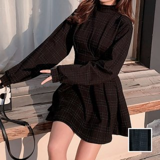 韓国 ファッション ワンピース 秋 冬 カジュアル PTXG365  チェック プリーツ ウエストシェイプ ミニ オルチャン シンプル 定番 セレカジ