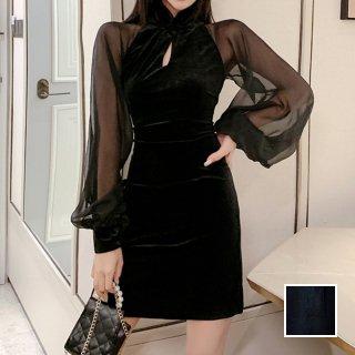 韓国 ファッション ワンピース パーティードレス ショート ミニ丈 秋 冬 パーティー ブライダル PTXG825 結婚式 お呼ばれ シースルー チャイナドレス風 マイクロミ 二次会 セレブ きれいめ