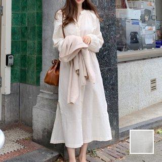 韓国 ファッション ワンピース 春 秋 冬 カジュアル PTXG969  シワ加工 バンドカラー ゆったり 体型カバー オルチャン シンプル 定番 セレカジ