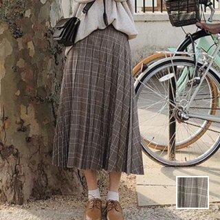 韓国 ファッション スカート ボトムス 秋 冬 カジュアル PTXG995  チェック プリーツ ミモレ丈 トラッド ガーリー オルチャン シンプル 定番 セレカジ