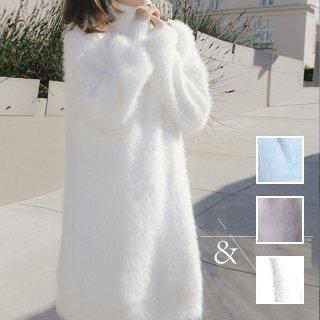 韓国 ファッション ワンピース 秋 冬 カジュアル PTXH142  ペールカラー オフタートル ふわふわ リブ オルチャン シンプル 定番 セレカジ