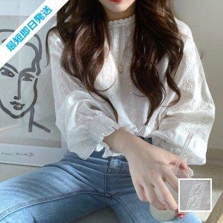 【即納】韓国 ファッション トップス ブラウス シャツ 春 夏 カジュアル SPTXH429  刺繍 パンチングレース ガーリー プルオーバー オルチャン シンプル 定番 セレカジ