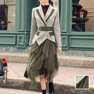 韓国 ファッション パーティードレス 結婚式 お呼ばれドレス セットアップ 秋 冬 パーティー ブライダル PTXH240  チェック シースルー アシンメトリー チュール 二次会 セレブ きれいめ