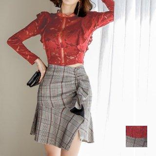韓国 ファッション パーティードレス 結婚式 お呼ばれドレス セットアップ 春 秋 冬 パーティー ブライダル PTXH287  アシンメトリー マーメイド フリル 華やか 二次会 セレブ きれいめ