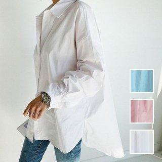 韓国 ファッション トップス ブラウス シャツ 夏 春 秋 カジュアル PTXH430  ビッグシルエット フィッシュテール ベーシック オルチャン シンプル 定番 セレカジ
