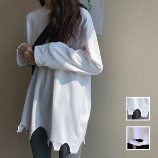 韓国 ファッション トップス Tシャツ カットソー 秋 冬 春 カジュアル PTXH442  ビッグシルエット ダメージ アクセント 着回し オルチャン シンプル 定番 セレカジ