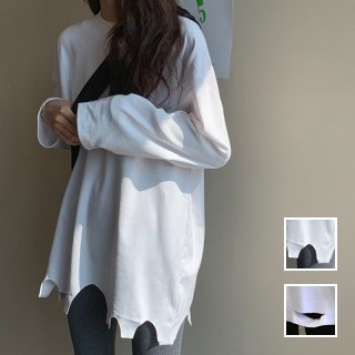 韓国 ファッション トップス Tシャツ カットソー 春 夏 秋 カジュアル PTXH442  ビッグシルエット ダメージ アクセント 着回し オルチャン シンプル 定番 セレカジ