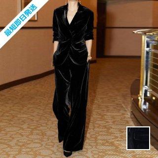【即納】韓国 ファッション パンツ セットアップ パーティードレス 結婚式 お呼ばれドレス 秋 冬 パーティー ブライダル SPTXH554  起毛 ドレープ テーラードジャ 二次会 セレブ きれいめ