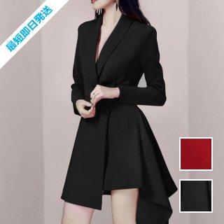 【即納】韓国 ファッション ワンピース パーティードレス ショート ミニ丈 秋 冬 春 パーティー ブライダル SPTXH561 結婚式 お呼ばれ アシンメトリー ラッフル  二次会 セレブ きれいめ